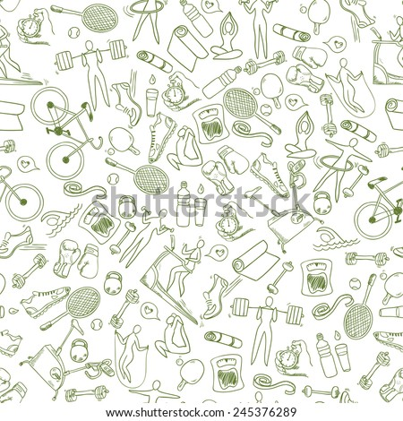 Fitness doodle hand drawn pattern. Seamless vector background - stock vector