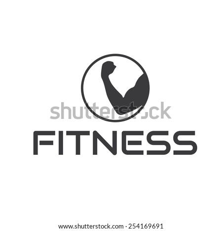 fitness emblem with muscle - stock vector