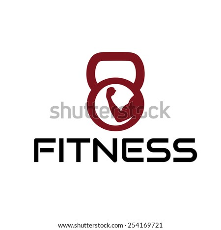 fitness emblem with muscle and kettlebell - stock vector