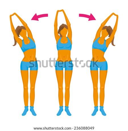 Fitness exercise. Girl doing a slope. - stock vector