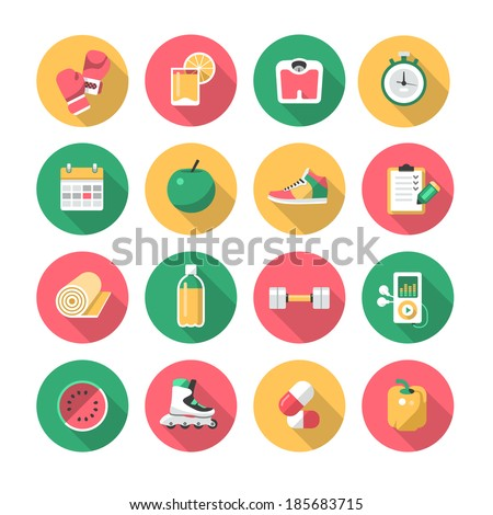 Fitness Flat Icons - stock vector