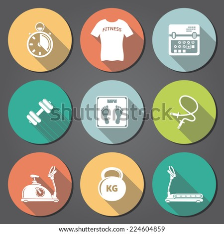 Fitness flat icons with long shadow - stock vector