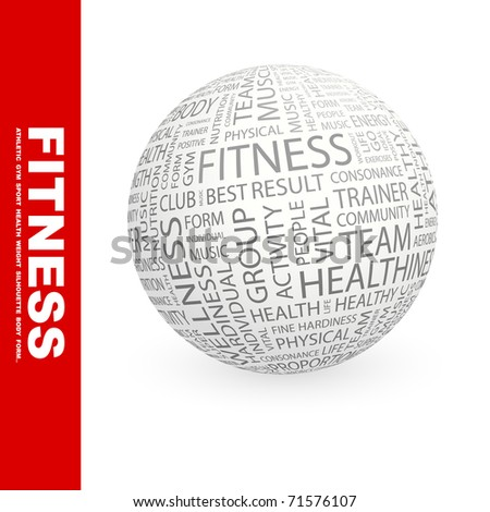 FITNESS. Globe with different association terms. Wordcloud vector illustration.