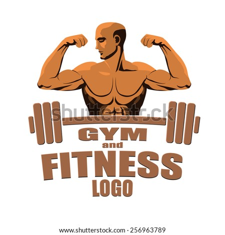 Fitness gym logo mock up bodybuilder showing biceps isolated on white background. - stock vector