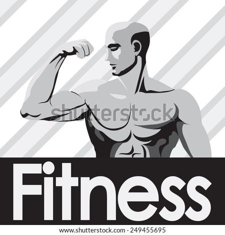 Fitness gym logo mock up grey bodybuilder showing biceps. - stock vector