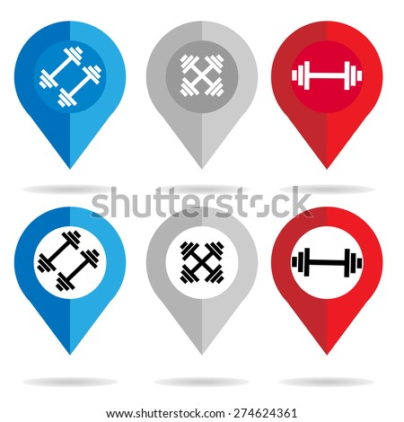 fitness : gym  map pointer icon check in location symbol on white background : transport logistics concept vector - stock vector