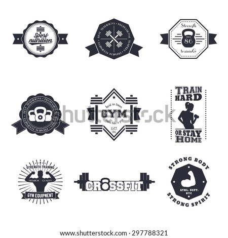 Fitness, Gym vintage logos, emblems, signs, badge, labels, with barbells, kettlebell, biceps, athlete, vector illustration, eps10, easy to edit - stock vector
