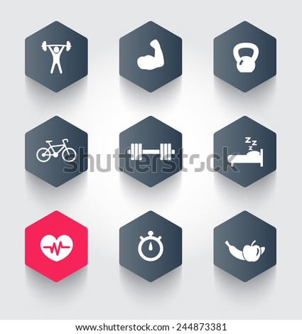 fitness, health, gym trendy hexagonal icons vector illustration, eps10, easy to edit - stock vector