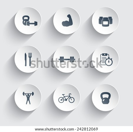 fitness, health, gym trendy icons on circles with shadow set 2 vector illustration, eps10, easy to edit - stock vector