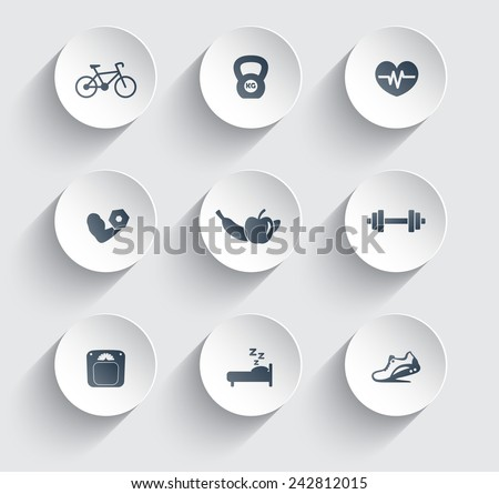 fitness, health, gym trendy icons on circles with shadow vector illustration, eps10, easy to edit - stock vector