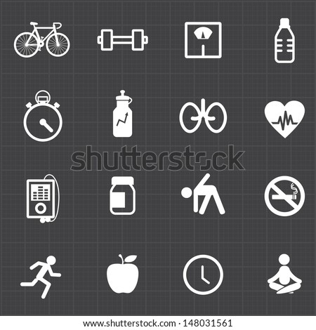 Fitness healthcare icons set and black background - stock vector