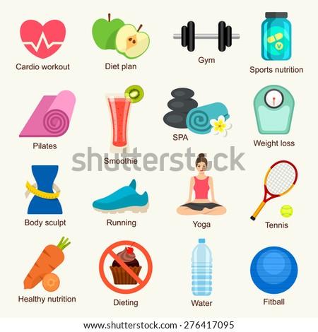 Fitness icon set - stock vector