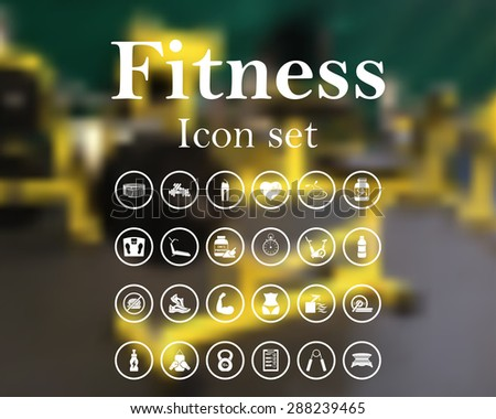 Fitness icon set. EPS 10 vector illustration with mesh and without transparency. - stock vector