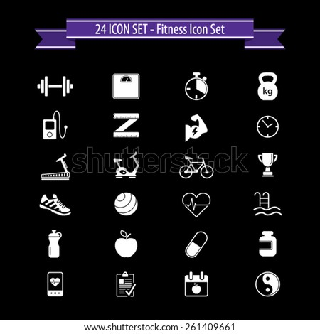 Fitness icon set - 24 Fitness icons - stock vector