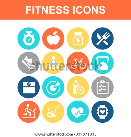 Fitness icon set - Flat Series - stock vector