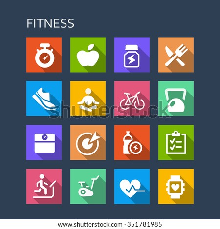 Fitness icon set - Flat Series with long shadows - stock vector