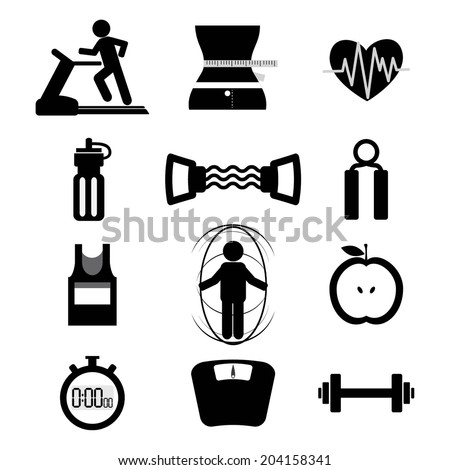 Fitness Icon Set Vector Illustration - stock vector