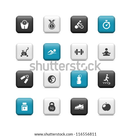 Fitness icons. Buttons - stock vector