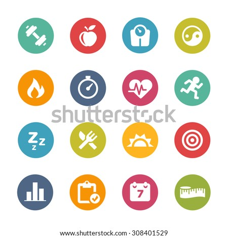 Fitness  Icons, Circle Series - stock vector