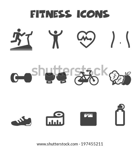 fitness icons, mono vector symbols - stock vector
