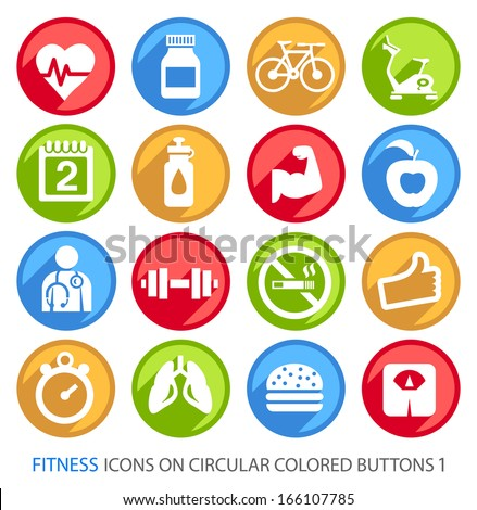 Fitness Icons on Circular Colored Buttons 1.  - stock vector