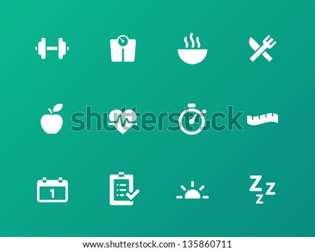 Fitness icons on green background. Vector illustration. - stock vector