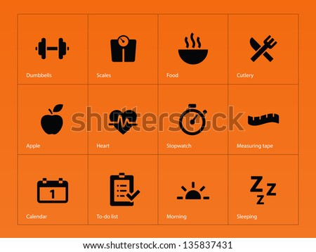 Fitness icons on orange background. Vector illustration. - stock vector