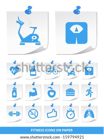Fitness Icons on Stick Notes. - stock vector