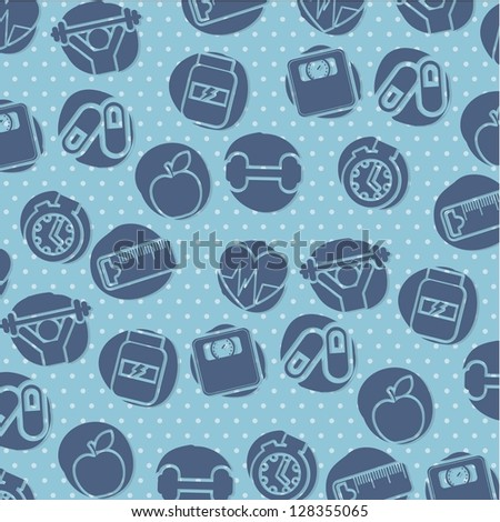fitness icons  over blue background. vector illustration - stock vector