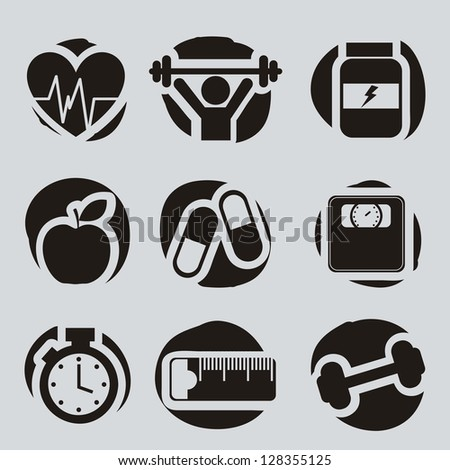 fitness icons over gray background. vector illustration - stock vector