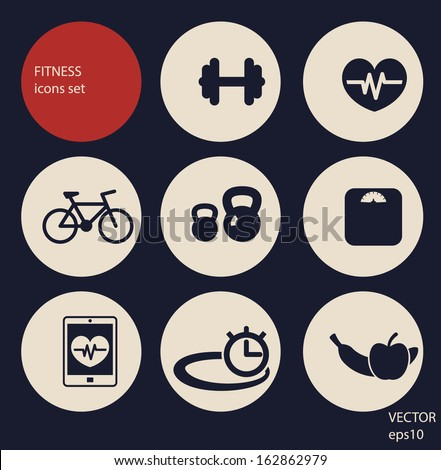 fitness icons set - stock vector