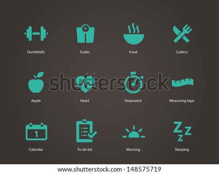 Fitness icons. Vector illustration. - stock vector