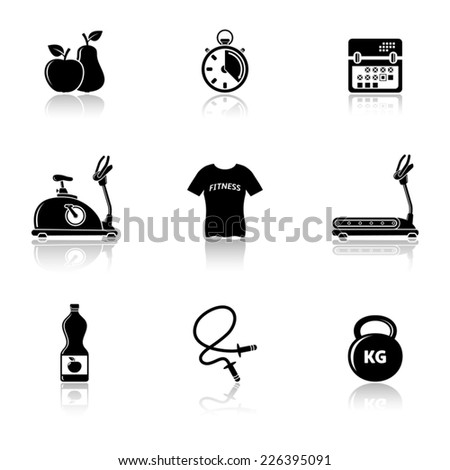 Fitness icons with reflection - stock vector