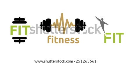 Fitness illustration icons, isolated on white - stock vector