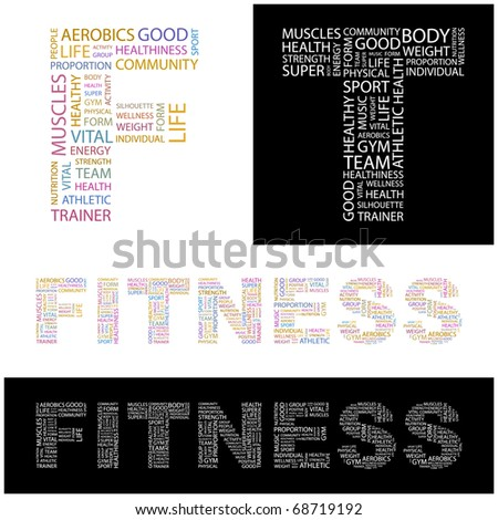 FITNESS. Illustration with different association terms. - stock vector