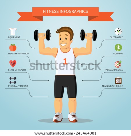 Fitness infographics concept with smiling cartoon training man and set of flat healthy lifestyle and sports icons. Vector illustration - stock vector