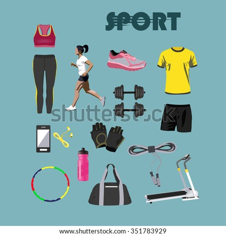 Fitness isolated icons set. Sport equipment and accessories. Training concept vector illustration. Design elements, running clothes, phone, boots, dumbell, treadmill. Running girl. - stock vector