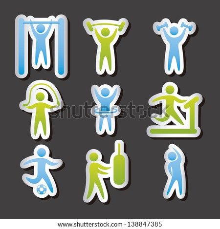 fitness labels over gray background. vector illustration - stock vector