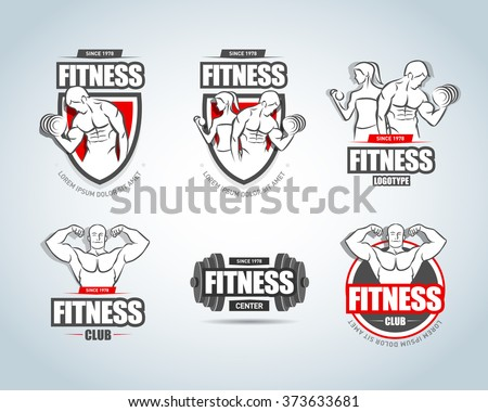 Fitness logo templates set. Gym club logotypes. Sport Fitness club creative concepts. Gym club logotypes. Bodybuilder, Sportsman Fitness Model Illustration, Sign, Symbol, badge. - stock vector