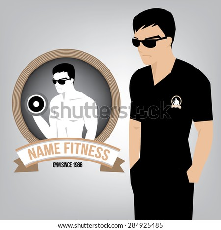 Fitness logo with handsome man