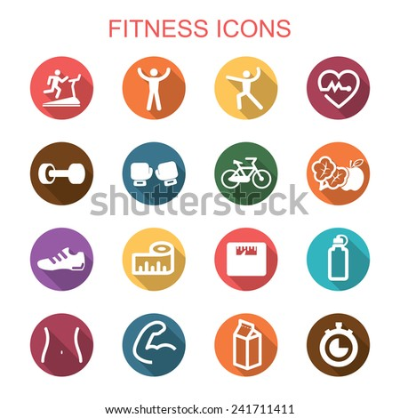 fitness long shadow icons, flat vector symbols - stock vector
