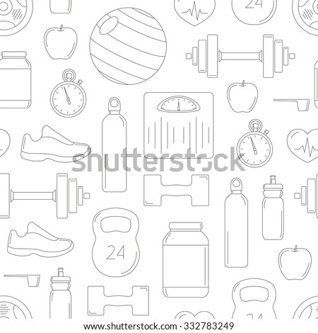 Fitness objects contour pattern: ball, stopwatch, dumbbells, barbells, shoes, weight scales, protein, vitamins, bottle, apple, heart, sports bottle; Vector seamless sport background - stock vector