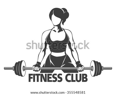 Fitness or Gym center emblem. Athletic woman silhouette with barbell. Power lifting exercises concept. Free font used. Isolated on white. - stock vector