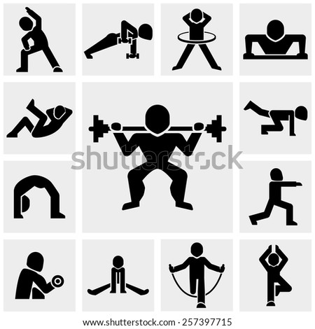 Fitness people vector icons set on gray.