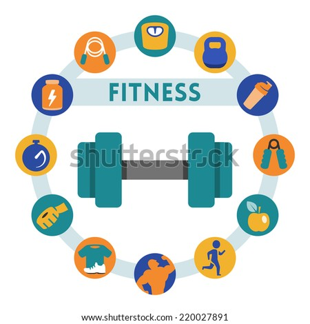 Fitness related vector infographic, flat style - stock vector
