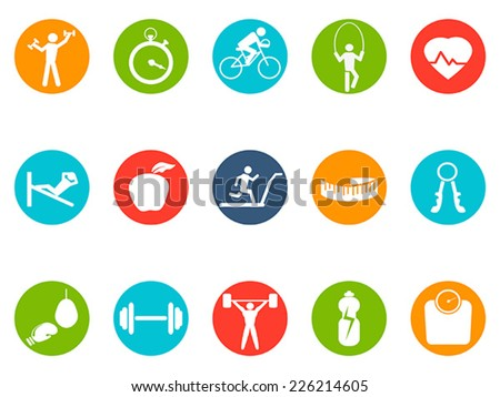 fitness round buttons icons set - stock vector