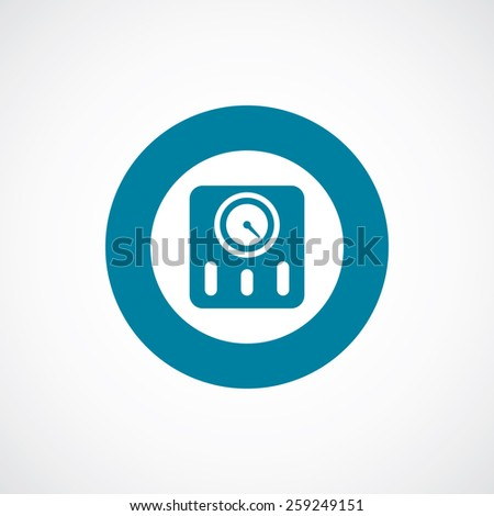 fitness scales icon bold blue circle border, white background   - stock vector