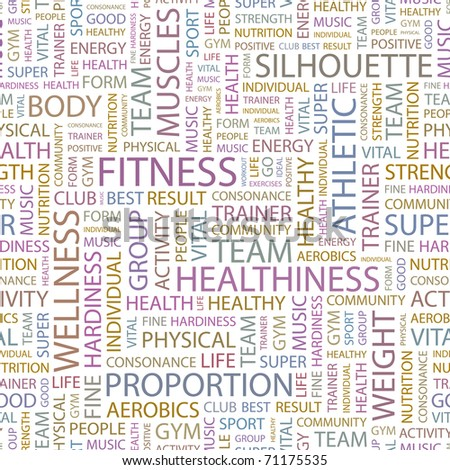 FITNESS. Seamless vector background. Illustration with different association terms.
