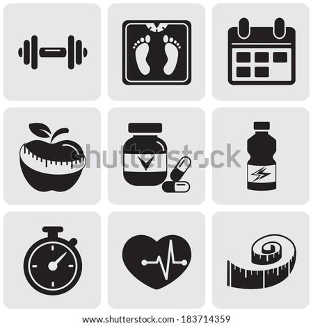 fitness set - stock vector