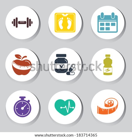 fitness set - stock vector